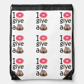I donut give a poop emoji drawstring bag