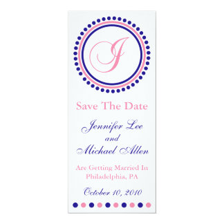 I Dot Circle Monogram Save The Date (Blue / Pink) Personalized Invites