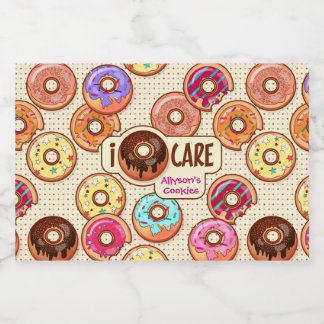 I Doughnut Care Cute Funny Donut Sweet Treats Love Food Label