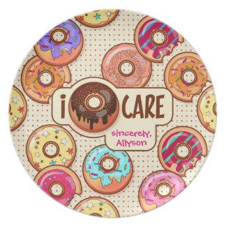 I Doughnut Care Cute Funny Donut Sweet Treats Love Plate