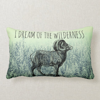 I Dream Of The Wilderness Big Horn Sheep Snow Tree Lumbar Cushion
