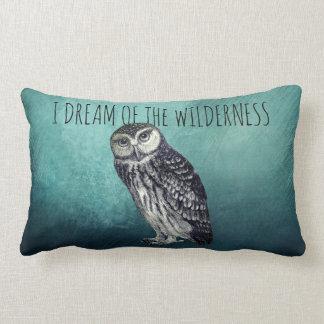 I Dream Of The Wilderness Owl And Deep Blue Lumbar Cushion