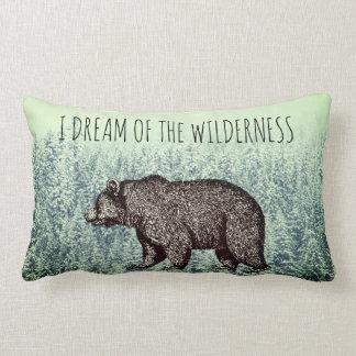 I Dream Of The Wilderness Walking Bear Snowy Trees Lumbar Cushion