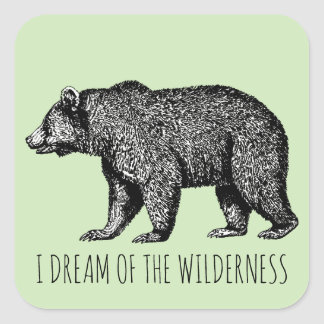 I Dream Of The Wilderness Walking Bear Square Sticker