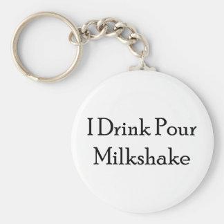 I Drink Pour Milk Shake Basic Round Button Key Ring