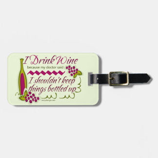I Drink Wine Funny Quote Personalized Luggage Tags