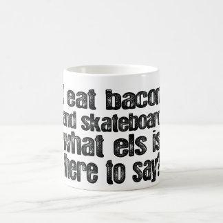 I Eat Bacon and Skateboard Basic White Mug