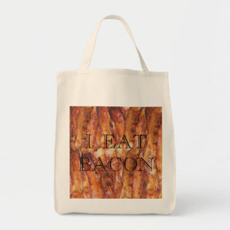 I Eat Bacon Text with Background Tote Bags