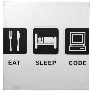 I eat, sleep and code printed napkin