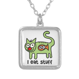 I eat stuff kitty! silver plated necklace