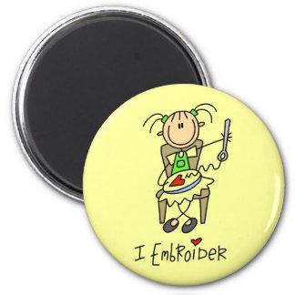 I Embroider Stick Figure Fridge Magnets