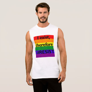 I exist, therefore I #RESIST with flag Sleeveless Shirt