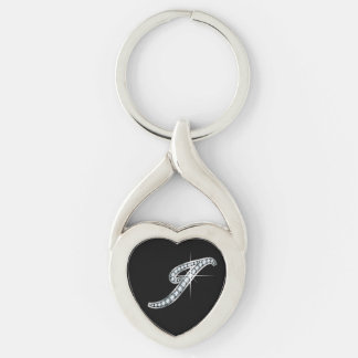 "I Faux-""Diamond Bling"" Silver-Colored Twisted Heart Key Ring"