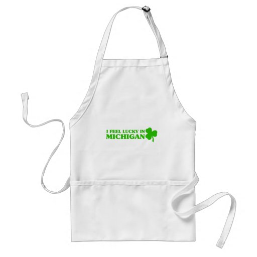 I feel lucky in Michigan Aprons
