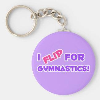 I Flip for Gymnastics! Basic Round Button Key Ring