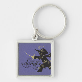 I Flirt With Danger Silver-Colored Square Key Ring