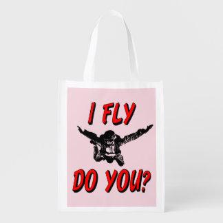 I Fly, Do You? (blk) Reusable Grocery Bag