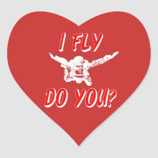 I Fly, Do You? (wht) Heart Sticker