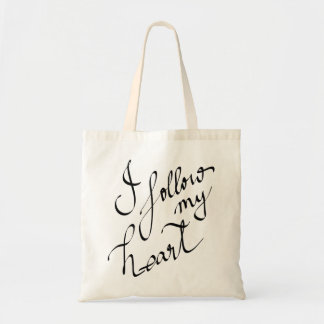 I Follow My Heart Typography Modern Cute Budget Tote Bag