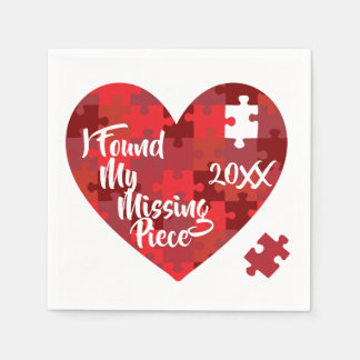 I Found My Missing Piece - Puzzle Heart Disposable Serviette