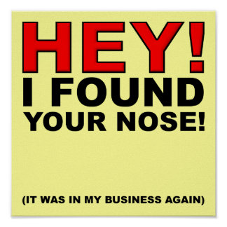 I Found Your Nose Funny Poster Sign