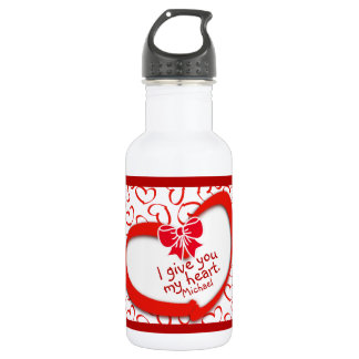 """I give you my Heart"" Valentines Day Heart Pattern 532 Ml Water Bottle"
