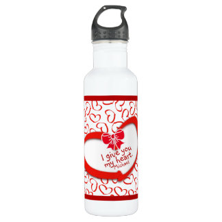"""I give you my Heart"" Valentines Day Heart Pattern 710 Ml Water Bottle"