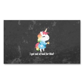 I got out of bed for this? Snarkles the Unicorn Magnetic Business Card