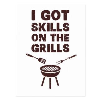 I Got Skills on the Grills Cookout BBQ Postcard
