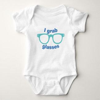 I Grab Glasses Blue Funny Baby Boy One Piece Baby Bodysuit
