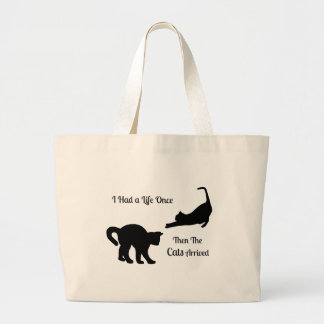 I Had A Life Once Cat Jumbo Tote Bags
