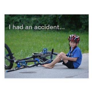 I had an Accident.. Bicycle Crash Postcard
