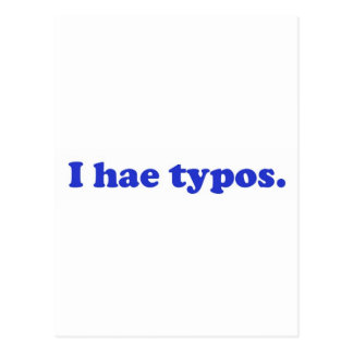 I hae typos - blue postcard
