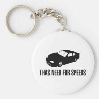 I Has Need for Speed Basic Round Button Key Ring