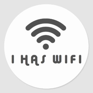 I HAS WIFI INTERNET CLASSIC ROUND STICKER