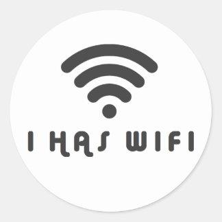 I HAS WIFI INTERNET CLASSIC ROUND STICKER