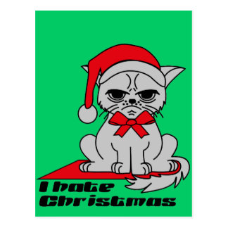 I hate Christmas - Cat postcard