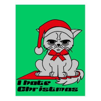 I hate Christmas - Cat postcard