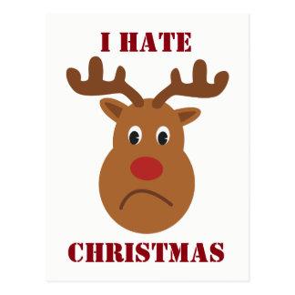 I hate Christmas sad reindeer Postcard