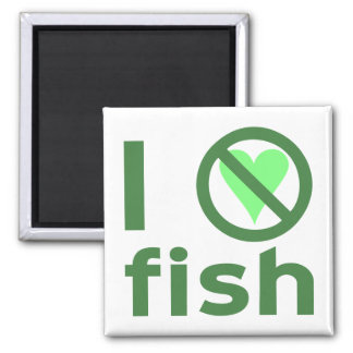 I Hate Fish Square Magnet