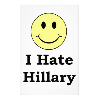 I Hate Hillary  happy smiley face Personalized Stationery
