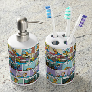 """I Hate Mondays"" Garfield Comic Strip Soap Dispenser And Toothbrush Holder"