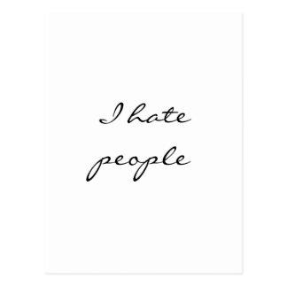 I hate people postcard