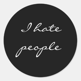 I hate people round sticker