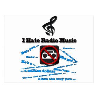 I Hate Radio Music Postcard