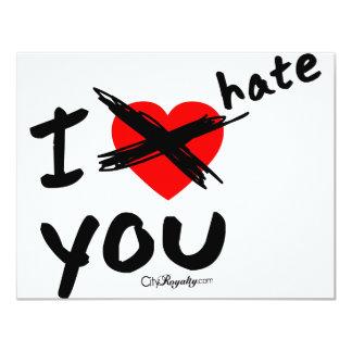 I hate you 11 cm x 14 cm invitation card