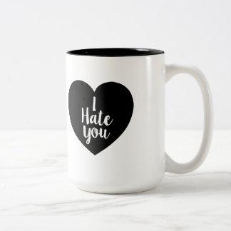 I Hate You Heart Two-Tone Coffee Mug
