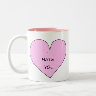 I hate you hipster heart Two-Tone coffee mug