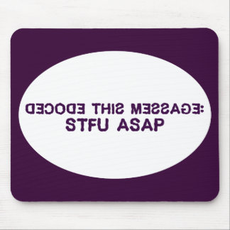 I have a secret message for you to decode mouse pad