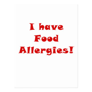 I Have Food Allergies Postcard